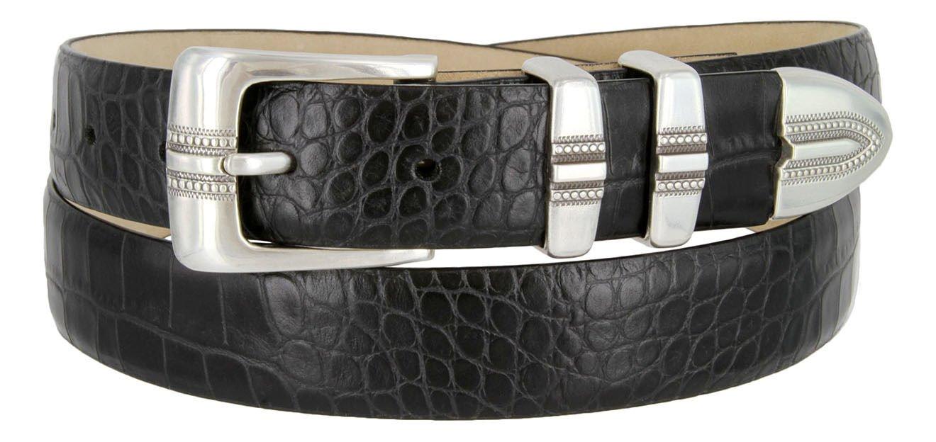 "Kaymen Italian Calfskin Leather Designer Dress Golf Belts for Men 1-1/8"" Wide Size 40 Alligator Blac"