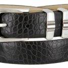 "Kaymen Italian Calfskin Leather Designer Dress Golf Belts for Men 1-1/8"" Wide Size 54 Alligator Blac"
