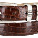 "Kaymen Italian Calfskin Leather Designer Dress Golf Belts for Men 1-1/8"" Wide Size 38 Alligator Brow"