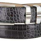 "Kaymen Italian Calfskin Leather Designer Dress Golf Belts for Men 1-1/8"" Wide Size 34 Alligator Char"