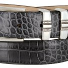 "Kaymen Italian Calfskin Leather Designer Dress Golf Belts for Men 1-1/8"" Wide Size 48 Alligator Char"