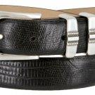 "Kaymen Italian Calfskin Leather Designer Dress Golf Belts for Men 1-1/8"" Wide Size 38 Lizard Black"