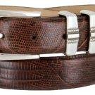 "Kaymen Italian Calfskin Leather Designer Dress Golf Belts for Men 1-1/8"" Wide Size 44 Lizard Brown"