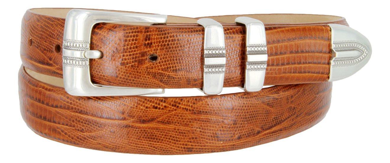 "Kaymen Italian Calfskin Leather Designer Dress Golf Belts for Men 1-1/8"" Wide Size 40 Lizard Tan"