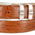 "Kaymen Italian Calfskin Leather Designer Dress Golf Belts for Men 1-1/8"" Wide Size 54 Lizard Tan"
