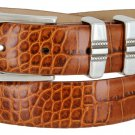 "Kaymen Italian Calfskin Leather Designer Dress Golf Belts for Men 1-1/8"" Wide Size 50 Alligator Tan"
