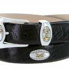 Bellerive Mens Italian Calfskin Leather Golf Concho Dress Belt Size 38 Alligator Black