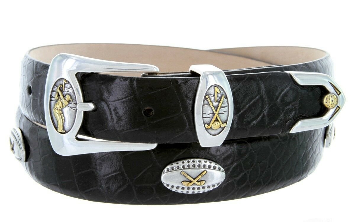 Bellerive Mens Italian Calfskin Leather Golf Concho Dress Belt Size 52 Alligator Black