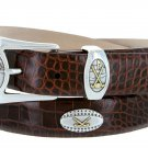 Bellerive Mens Italian Calfskin Leather Golf Concho Dress Belt Size 52 Alligator Brown