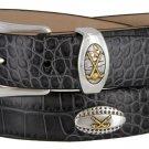 Bellerive Mens Italian Calfskin Leather Golf Concho Dress Belt Size 38 Alligator Charcoal