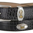 Bellerive Mens Italian Calfskin Leather Golf Concho Dress Belt Size 46 Alligator Charcoal