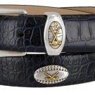 Bellerive Mens Italian Calfskin Leather Golf Concho Dress Belt Size 34 Alligator Navy