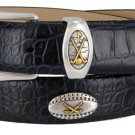 Bellerive Mens Italian Calfskin Leather Golf Concho Dress Belt Size 38 Alligator Navy