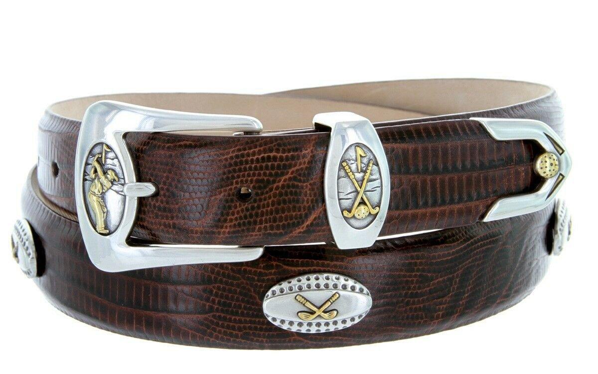 Bellerive Mens Italian Calfskin Leather Golf Concho Dress Belt Size 54 Lizard Brown