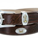 Bellerive Mens Italian Calfskin Leather Golf Concho Dress Belt Size 54 Lizard Brown