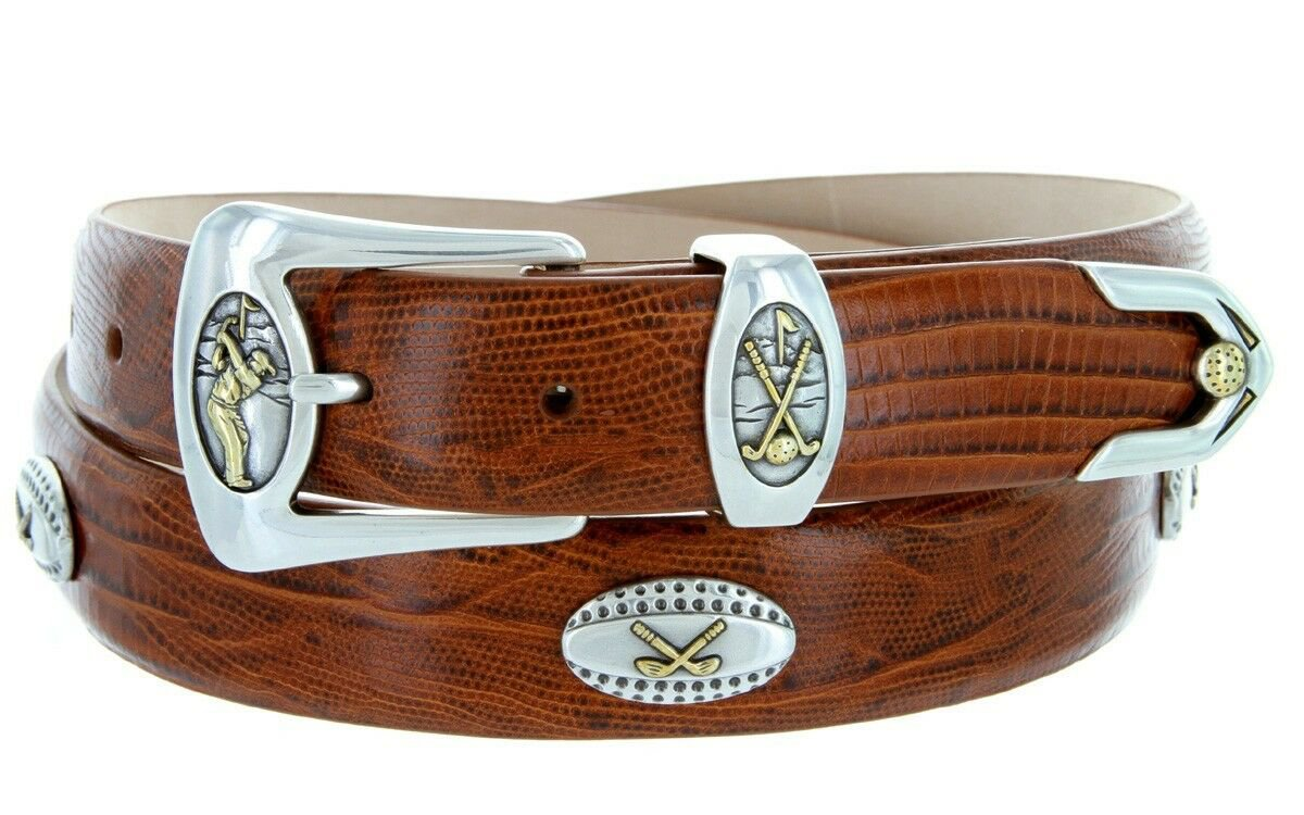 Bellerive Mens Italian Calfskin Leather Golf Concho Dress Belt Size 32 Lizard Tan