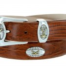 Bellerive Mens Italian Calfskin Leather Golf Concho Dress Belt Size 54 Lizard Tan