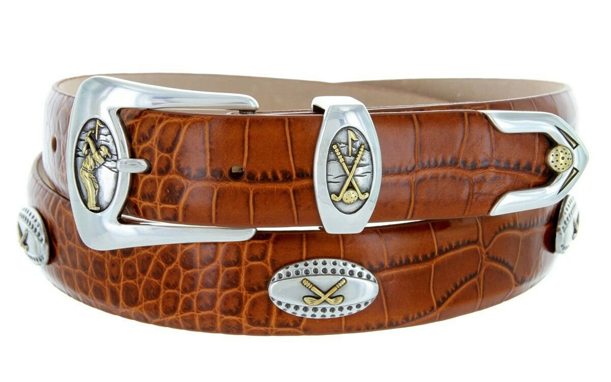 Bellerive Mens Italian Calfskin Leather Golf Concho Dress Belt Size 34 Alligator Tan