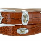 Bellerive Mens Italian Calfskin Leather Golf Concho Dress Belt Size 52 Alligator Tan