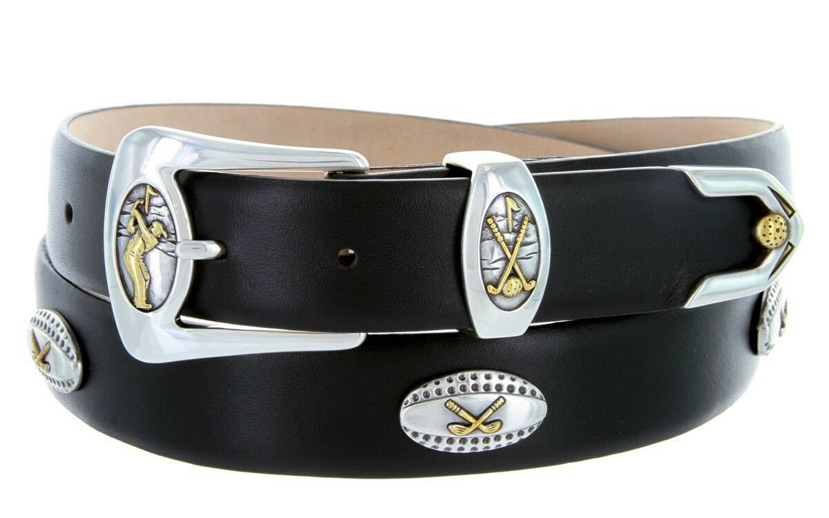 Bellerive Mens Italian Calfskin Leather Golf Concho Dress Belt Size 42 Smooth Black