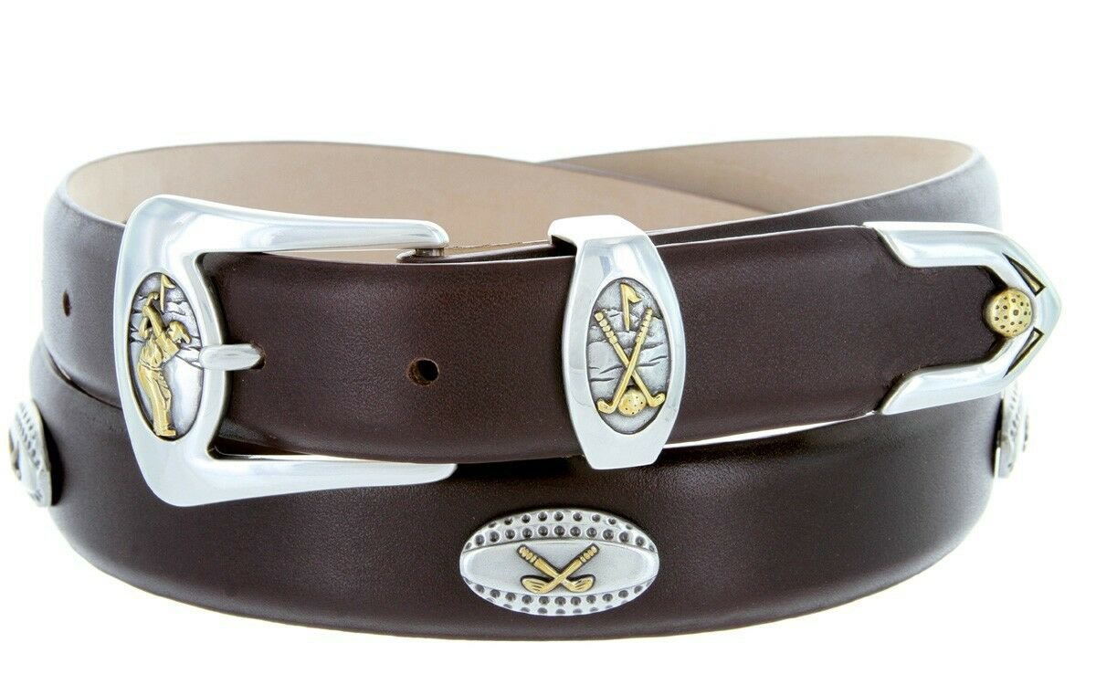 Bellerive Mens Italian Calfskin Leather Golf Concho Dress Belt Size 34 Smooth Brown