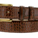 "Arthur Genuine Italian Calfskin Leather Designer Dress Belt 1-1/8"" Wide Size 44 Alligator Brown"