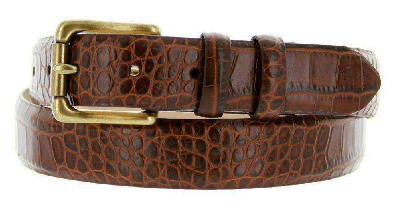 "Arthur Genuine Italian Calfskin Leather Designer Dress Belt 1-1/8"" Wide Size 46 Alligator Brown"