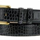 "Arthur Genuine Italian Calfskin Leather Designer Dress Belt 1-1/8"" Wide Size 42 Alligator Charcoal"