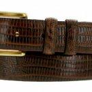 "Arthur Genuine Italian Calfskin Leather Designer Dress Belt 1-1/8"" Wide Size 32 Lizard Brown"