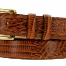 "Arthur Genuine Italian Calfskin Leather Designer Dress Belt 1-1/8"" Wide Size 54 Lizard Tan"