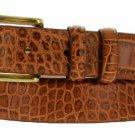 "Arthur Genuine Italian Calfskin Leather Designer Dress Belt 1-1/8"" Wide Size 36 Alligator Tan"