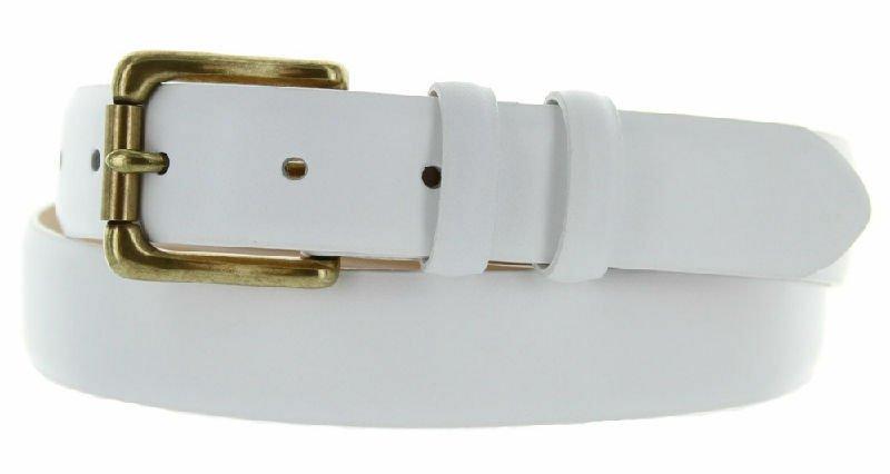 "Arthur Genuine Italian Calfskin Leather Designer Dress Belt 1-1/8"" Wide Size 42 Smooth White"