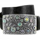 "Women's Rhinestone Belt Crystal Buckle Full Grain Tooled Leather Belt 1-1/2"" Size 38 Black"