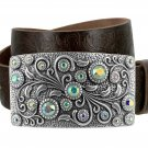"Women's Rhinestone Belt Crystal Buckle Full Grain Tooled Leather Belt 1-1/2"" Size 36 Brown"
