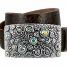 "Women's Rhinestone Belt Crystal Buckle Full Grain Tooled Leather Belt 1-1/2"" Size 44 Brown"