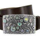 """Women's Rhinestone Belt Crystal Belt Full Grain Leather Belt 1-1/2"""" (38mm) Wide Size 44 Brown"""