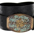 "Western Floral Engraved Patina Buckle Tooled Full Grain Leather Belt 1-1/2"" wide Size 30 Black"