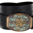 "Western Floral Engraved Patina Buckle Tooled Full Grain Leather Belt 1-1/2"" wide Size 44 Black"