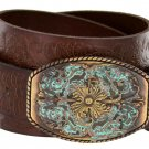 """Western Floral Engraved Patina Buckle Tooled Full Grain Leather Belt 1-1/2"""" wide Size 36 Brown"""