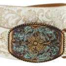 """Western Floral Engraved Patina Buckle Tooled Full Grain Leather Belt 1-1/2"""" wide Size 34 White"""