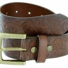 "Genuine Full Grain Western Floral Embossed Leather Belt 1-1/2"" Wide Size 42 Brown"