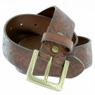"""Western Floral Engraved Buckle Tooled Full Grain Leather Belt 1-1/2"""" (38mm) Wide Size 42 Brown"""