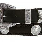 "Mens Texas Centennial Eagle Coin Concho Leather Cowboy Belt, 1-1/2"" Wide Size 60 Black"