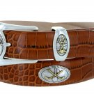 Bayside - Genuine Leather Italian Calfskin Designer Dress belt with Golf Conchos Size 50 Alligator T