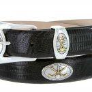 Bayside - Genuine Leather Italian Calfskin Designer Dress belt with Golf Conchos Size 54 Lizard Blac