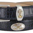 Bayside - Genuine Leather Italian Calfskin Designer Dress belt with Golf Conchos Size 36 Alligator N