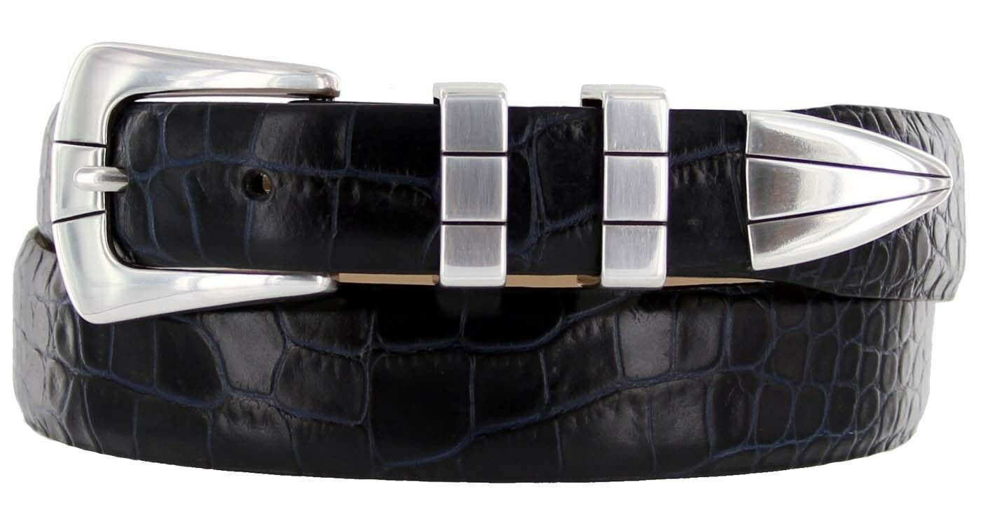 "Vince Italian Calfskin Leather Designer Dress Belt 1-1/8"" Tapers to 1"" Wide Size 42 Alligator Navy"