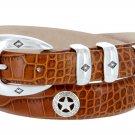 "Presidential Silver Star - Mens Italian Calfskin Designer Dress Belt 1-1/8"" Wide Size 50 Alligator T"