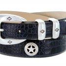 "Presidential Silver Star - Mens Italian Calfskin Designer Dress Belt 1-1/8"" Wide Size 44 Alligator N"