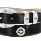 "Presidential Silver Star - Mens Italian Calfskin Designer Dress Belt 1-1/8"" Wide Size 48 Lizard Blac"